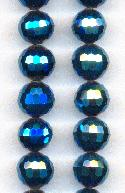 9mm Chinese Metallic Blue Faceted Beads