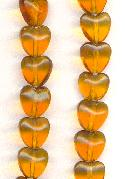 8mm Smoked Topaz Heart Beads