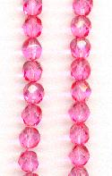 6mm Faceted Rose Glass Beads