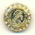 22mm Gold Plated Coin Embellished Button