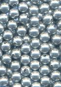 8mm Gray Partially Drilled Glass Beads