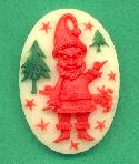 25x18mm Acrylic Red Santa Cameo