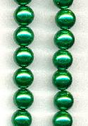 10mm Christmas Green Glass Pearls