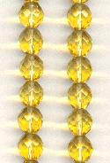 10m Topaz Faceted Glass Beads