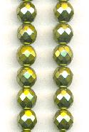 8mm Metallic Olivine Faceted Czech Beads