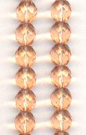 10mm Light Peach Faceted Glass Beads