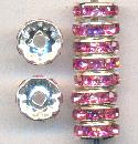 10mm Silver & Rose RS Rondelles