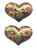 14x20mm Purple/Gold Floral Heart Stone