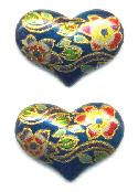 14x20mm Blue/Gold Floral Heart Stone