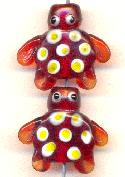 21mm Red Glass Turtle Bead