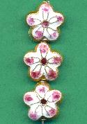 16mm White/Pink Cloisonne' Flower Beads