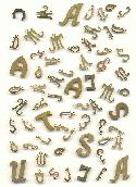 Mixed Brass Letter Stamped Charms