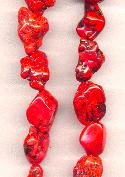 15''-16'' Med. Red Magnesite Nugget Beads