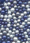 Mixed Blue Pearl Glass No-Hole Beads