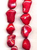 16'' Strand of Red Magnesite Nugget Beads