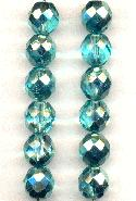10mm Teal Lustre Faceted Glass Beads