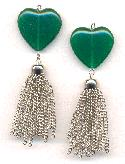 70mm Green Jade Glass SP Chain Tassle