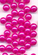 6mm Hot Pink No Hole Pearl Beads