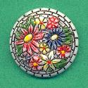27mm Painted Mosaic Floral Stone