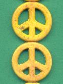 25mm Yellow Peace Sign Beads