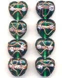 20mm Green & Gold Lampwork Heart Beads