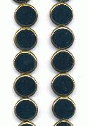15mm Black/Gold Flat Round Glass Beads