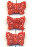 14x20mm Coral Glass Butterfly Beads
