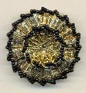 41mm Filigree Brooch/Black Seed Beads