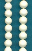 8mm Ivory Pressed Glass Beads