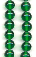 10mm Emerald Pressed Glass Beads