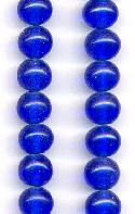 10mm Sapphire Pressed Glass Beads