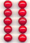 14mm Red Pressed Glass Beads