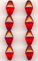 15x9mm Transparent Red Bicone Beads