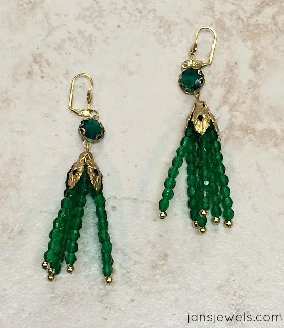 Emerald Rhinestone and Tassel Earrings