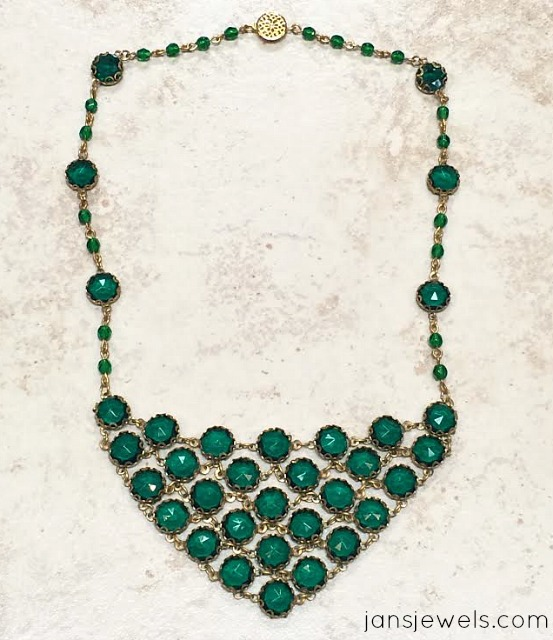 Emerald Rhinestone Bib Necklace