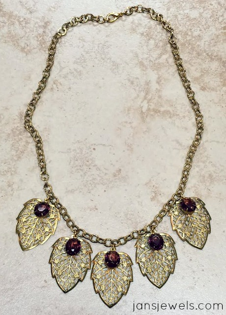 Filigree and Amethyst Rhinestone Necklace