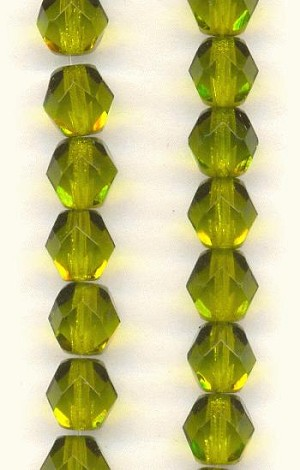 6mm Czech Faceted DKOlive Glass Bead
