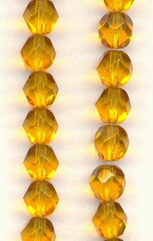 6mm Czech Faceted Topaz Glass Bead