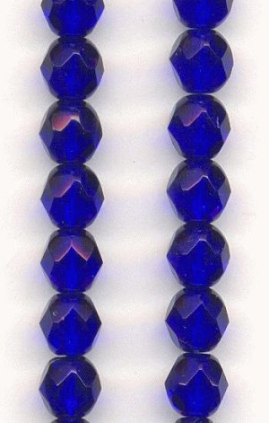 6mm Czech Faceted Cobalt Glass Bead