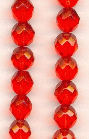 8mm Czech Faceted Hyacinth Glass Bead