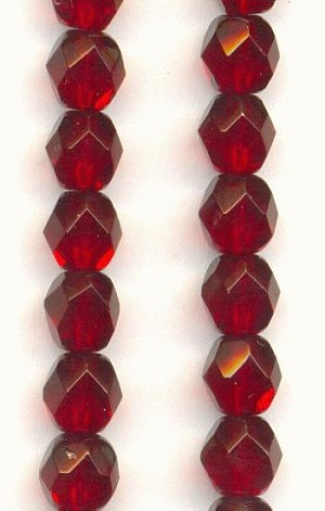 6mm Czech Faceted Ruby Glass Beads