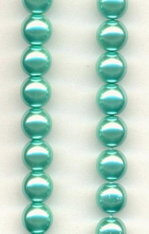 6mm Aqua Pearl Beads