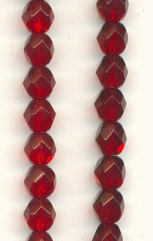 6mm Ruby Faceted Glass Bead