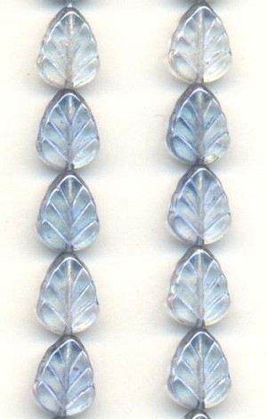10x8 Light Blue Luster Glass Leaf Bead
