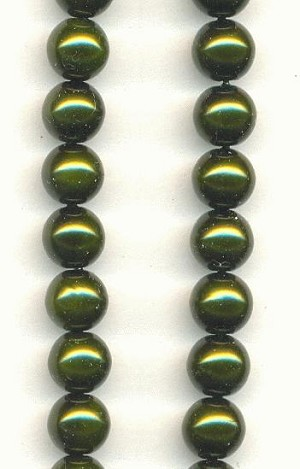 6mm Dark Olive Glass Pearls