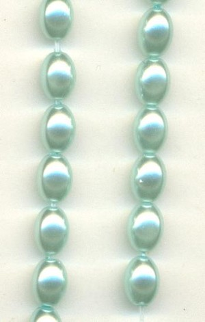 7x5mm Light Aqua Blue Rice Pearls