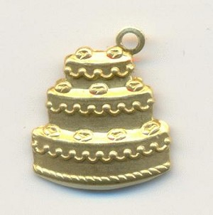 15mm Stamped Wedding Cake Charms