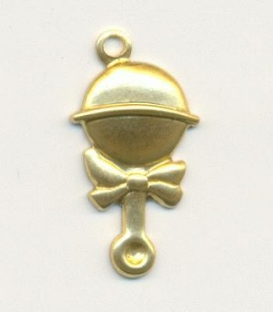 20mm Stamped Baby Rattle Charms