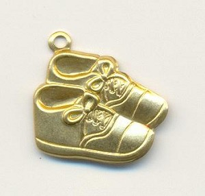 18mm Stamped Baby Shoe Charms