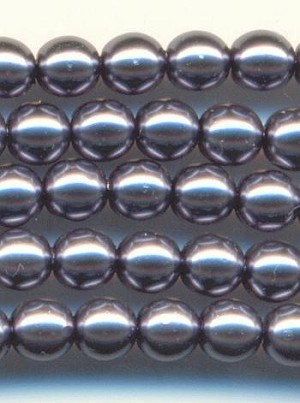 3.5mm Dark Gray/Silver Glass Pearl Beads